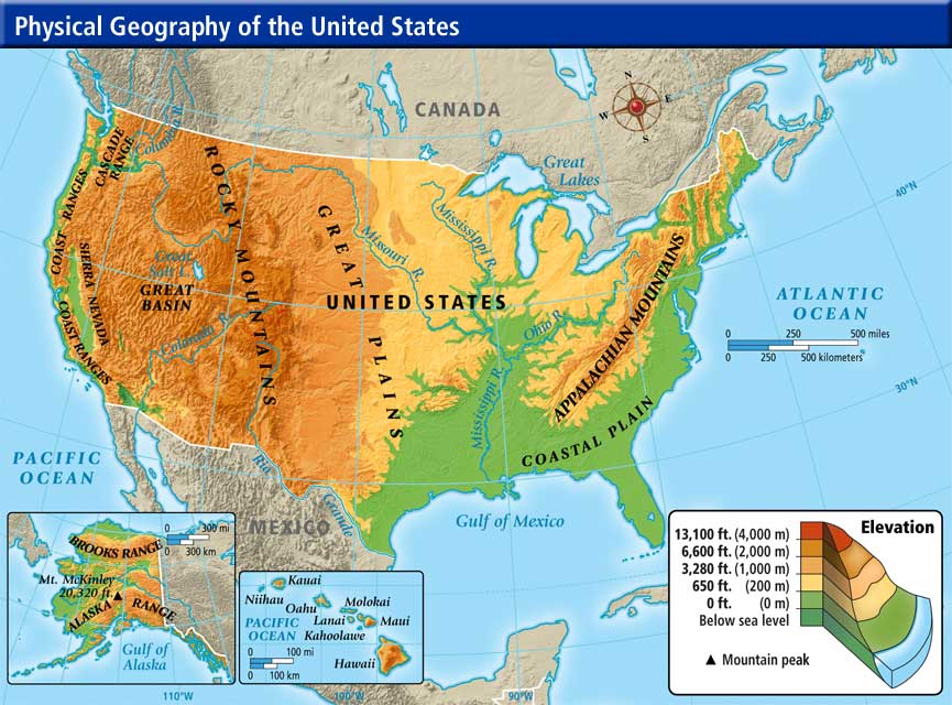 United States Physical Map Physical Map Of The United States Of