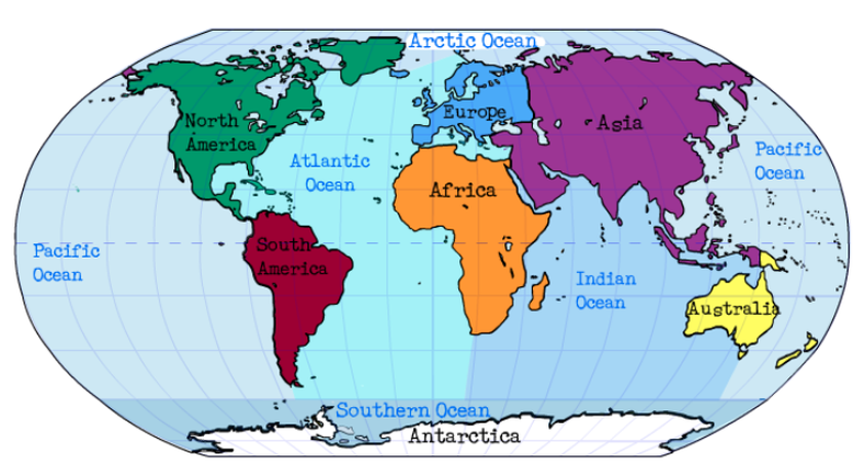 Lesson Political Maps APRIL SMITHS TECHNOLOGY CLASS - Major oceans of the world map