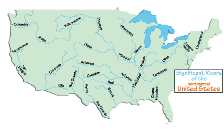 US Rivers EnchantedLearningcom Test Your Geography Knowledge USA - Map of the us rivers